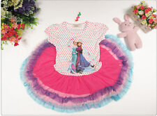 Frozen Princess Anna Queen Elsa Pleated Tutu Dress 3, 4, 7 and 8 Years-UK