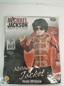 BOYS OFFICIAL MICHAEL JACKSON RED MILITARY JACKET COSTUME, Size M - Age 5-7