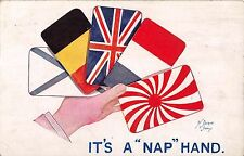 POSTCARD     MILITARY  WWI   PATRIOTIC   FLAGS  It's  a nap hand    Stocker Shaw