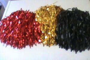 "RAH! RAH! RAH!  Red, Black or Gold Cheerleading POM POMS 6"" Strands SET OF 2"