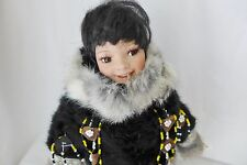 "Alaskan Eskimo Doll Porcelain Black Fur Outfit 12"" Tall"