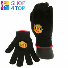 MANCHESTER UNITED KNITTED BLACK GLOVES WINTER WARM OFFICIAL FOOTBALL SOCCER CLUB