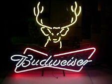 """New Budweiser Deer Beer Real Glass Handmade Neon Sign 17""""x14"""""""