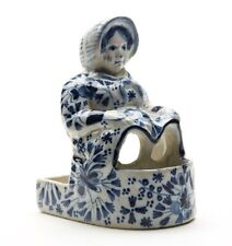 ANTIQUE DELFT NOVELTY LADY IN BATH POTTERY FIGURE 19 C.