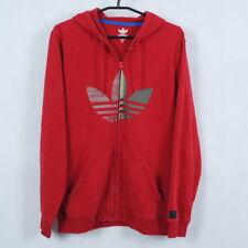 ADIDAS Mens Red Graphic Full Zip Fleece Lining Hoodie Sweatshirt SIZE Medium, M