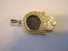 """14K GOLD MIDDLE EAST ANCIENT COIN HAMSA / HAND OF FATIMA PENDANT / CHARM 1-1/2"""""""