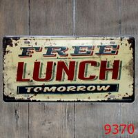 Metal Tin Sign free lunch  Decor Bar Pub Home Vintage Retro Poster Cafe ART