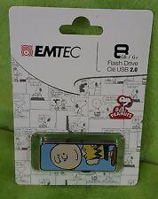 Emtec 8 GB USB 2.0 Flash Drive Peanuts Charlie Brown Full Body Graphics NEW
