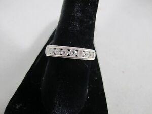 QVC Diamonique New Sterling 9 Stone CZ Band Ring Sizes 4 ,6, 7, Man's/Ladies