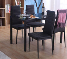 STUNNING GLASS BLACK DINING TABLE SET AND 4 FAUX LEATHER CHAIRS FOR HOME KITCHEN