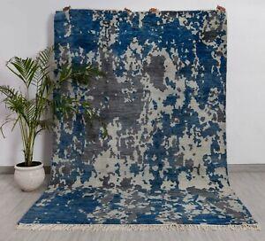 6x9 Rug Abstract Galaxy Handmade Wool Rug #8655 (180x275 Cms.)