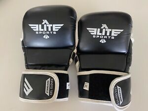 Elite Sports 6oz Standard Gel Boxing Gloves Black and White L/XL