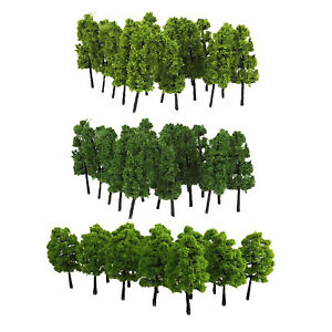 Green Mini Tree Model Railway Scenery Building Landscape Material - Pack of 40