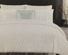 Tahari White Woven Jacquard Frayed Diamond King Duvet Cover Set W / Shams