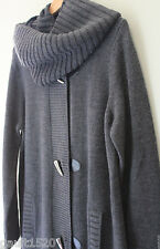 NWT Michael Kors Derby Gray Crew Neck Cardigan Cowl Collar Wool Sweater XL $395