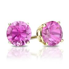 2 Ct Round Pink Earrings Studs Real 18K Yellow Gold Brilliant Screw Back Basket