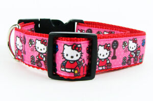 "Hello Kitty dog collar Handmade adjustable buckle collar 1""wide or leash $12"