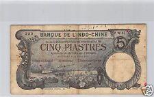 Bank- des'Indochina Haiphong 5 Piaster 11 Juli 1913 W.67 Nr. 280 Pick 16b
