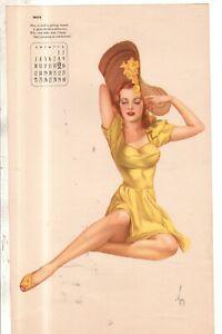 1942 Vargas Original Calendar Page May Redhead