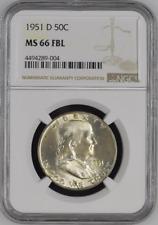 :1951-D 50C Franklin Half Dollar Certified NGC MS-66 FBL Pop Top 25 Rarity