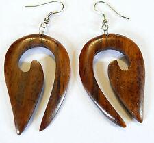 Boucles d'Oreilles en Bois Artisanat Bijoux Ethnique Tribal Wooden Earrings