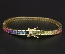 14k Yellow Gold Sterling Silver Square Blue Sapphire & Multi Gem Tennis Bracelet