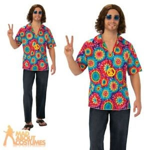 Mens Hippie Shirt + Necklace Groovy Psychedelic Hippy 60s 70s Fancy Dress Outfit