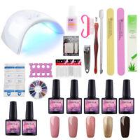 Nail Salon Kit UV LED Lamp Nail Sticker File 5Pcs Gel Polish Complete UV Gel Kit