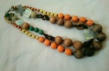 Wooden Bohemian Bead And Mother Of Pearl Square Bead Multistrand Necklace