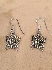 Pretty New Tibetan Silver Butterfly Charm Dangle Drop Earrings
