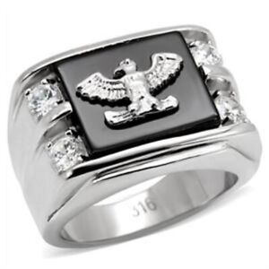 Stainless Steel Men's Eagle CZ Ring - Sizes 8-13