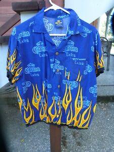 Vtg Corona Extra Beer Vintage Button up Hawaiian Shirt Blue Flames Size M/M