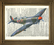 """VINTAGE DICTIONARY PAGE PRINT: WW2 Flying Spitfire Fighter Airplane (10 x 8"""")"""