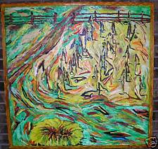 """Big Original Outsider Folk Art """"Dying Sunflowers""""1997 Abstract By Wolverton RWJR"""