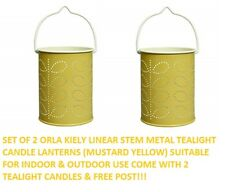 2 x ORLA KIELY CANDLE HOLDER TEALIGHT METAL LANTERN LINEAR STEM YELLOW & CANDLE