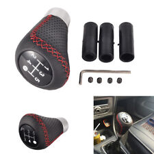 5 Speed Leather Black& Red Line Stitche Manual Car Gear Stick Shift Knob Shifter