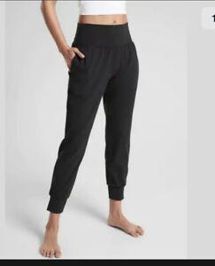 Athleta Salutation Jogger In Powervita Black Yoga Athletic Pants Medium Petite