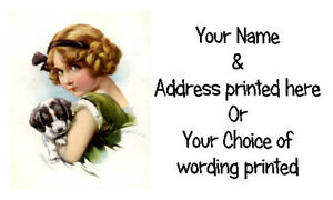 42 X Personalised Address Labels Stickers -  VINTAGE RETRO GIRL & HER PUPPY DOG