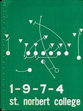 1974  ST. NORBERT COLLEGE (WI) FOOTBALL media guide, mimeographed original. EX