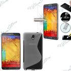Funda Carcasa Lámina Vidrio Templado Silicona TRANSPARENTE Samsung Galaxy Note 3