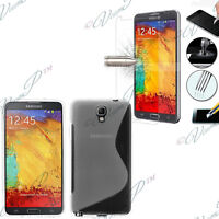 Etui Coque Film Verre Trempe Silicone TRANSPARENT Samsung Galaxy Note 3 N7505