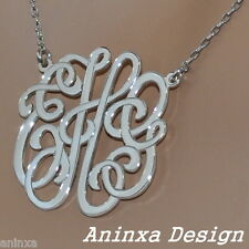 Monogram Any Letters Season's Greetings  Pendant  Necklace 925 Sterling Silver