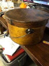 Rare Antique. Wooden Cylinder Hat Box ! 9� Diameter 5.5� Tall