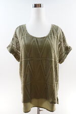 New York & Company Soho Short Sleeve Overlay Top Size L Dark Moss Green