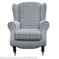 High Back Armchair Check Grey Fabric Wing Chair Queen Anne Fireside Living Room