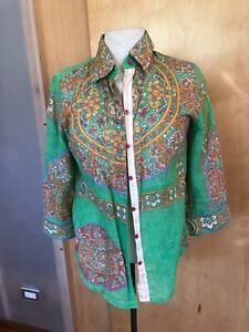 Robert Graham cotton shirt women's S ¾ sleeve