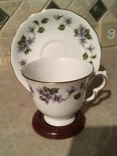 Queen Anne Bone China Footed Tea Cup and Saucer with Violets 8345 England