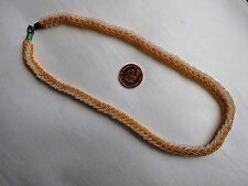 CZECH AMBER COLOUR & CLEAR GLASS SEED BEAD ROPE EFFECT CHOCKER NECKLACE