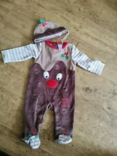 Baby Boys TU 3-6 Months Christmas Outfit With Hat Iittle Pudding