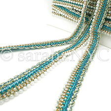 Turquoise Pearl Edging Beaded Fabric Trim trimming,Embellishment,co stume,pageant